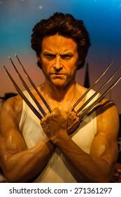 BANGKOK THAILAND - MARCH 5, 2015: Hugh Jackman waxwork figure -Madame Tussauds Siam discovery
