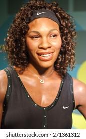 BANGKOK THAILAND - MARCH 5, 2015: Serena Williams waxwork figure -Madame Tussauds Siam discovery