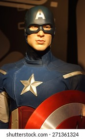 BANGKOK THAILAND - MARCH 5, 2015: Captain America waxwork figure -Madame Tussauds Siam discovery