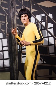 BANGKOK THAILAND - MARCH 5, 2015: Bruce Lee  waxwork figure -Madame Tussauds Siam discovery