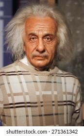 BANGKOK THAILAND - MARCH 5, 2015:Albert Einstein waxwork figure -Madame Tussauds Siam discovery