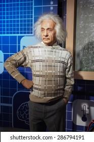 BANGKOK THAILAND - MARCH 5, 2015:Albert Einstein waxwork figure side view -Madame Tussauds Siam discovery
