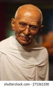 BANGKOK THAILAND - MARCH 5, 2015:Mahatma Ghandi waxwork figure -Madame Tussauds Siam discovery