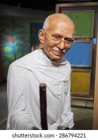 BANGKOK THAILAND - MARCH 5, 2015:Mahatma Ghandi waxwork figure2  -Madame Tussauds Siam discovery