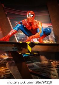 BANGKOK THAILAND - MARCH 5, 2015:Spiderman waxwork figure 2 -Madame Tussauds Siam discovery