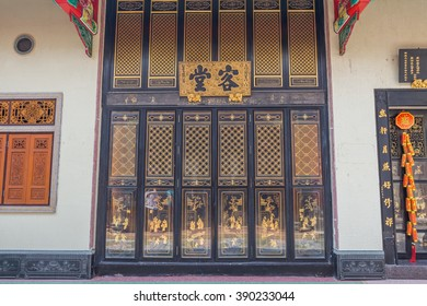 Bangkok Thailand - March 5, 2016 : the Door at Wat Leng Nei Yee Chinese temple in Bangkok Chinatown. It is considered to be the oldest Chinese shrine in Thailand which was built in 1658