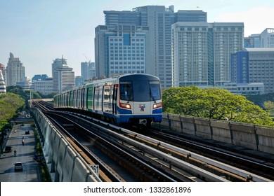 Bangkok, Thailand, march 5, 2019: BTS Sky train against Silom district