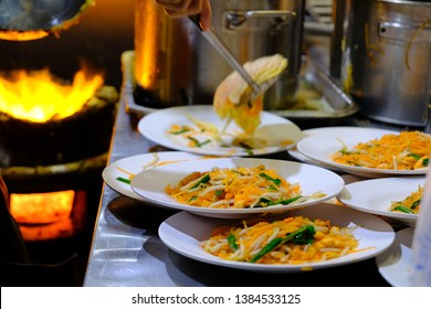 Bangkok, Thailand - March 5, 2019: Pad Thai, thailand most favourite comfort food, Pad Thai Thip Samai at Phra Nakhon, Bangkok is the most famous for it's pad thai.