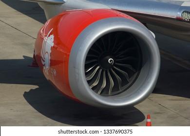Bangkok / Thailand - March 6 2019 - Thai lion air boeing 737 max 9 engine. LEAP-1B