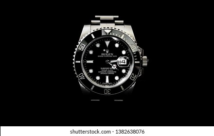 BANGKOK, THAILAND - MARCH 6, 2019: Rolex Submariner watch is equipped with a ceramic bezel.
