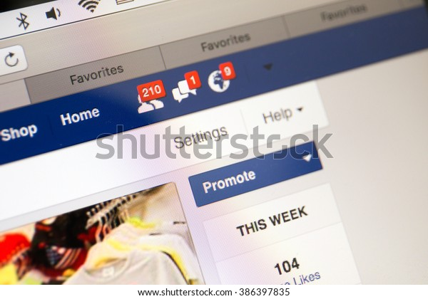 BANGKOK, THAILAND - March 6: Facebook business page closeup with notifications of new customers like, new messages, in Bangkok, Thailand, on May 6, 2016.