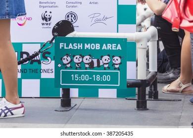 Bangkok, Thailand - March 7, 2016: 1600 paper Mache Pandas campaign showcase in Bangkok by WWF to promote environmental preservation.