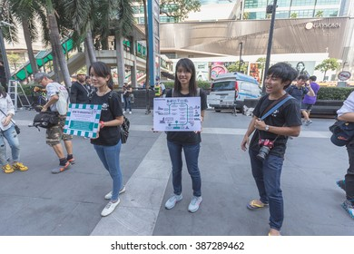 Bangkok, Thailand - March 7, 2016: 1600 paper Mache Pandas campaign showcase in Bangkok by WWF to promote environmental preservation.