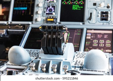 BANGKOK, THAILAND - MARCH 7, 2017: Detailed view of the dashboard and center console of the largest passenger aircraft Airbus A380-800. Cockpit of Airbus A380 (largest passenger airliner in the world)