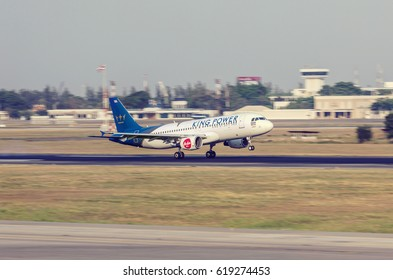 BANGKOK, THAILAND - MARCH 7, 2017: Thai AirAsia Airbus A320-251N plane from landing at the airport in Bangkok.