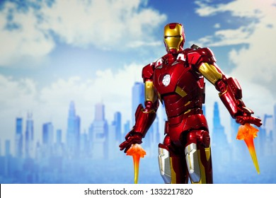 Bangkok, Thailand - March 7,2019: A setting of Iron Man flying an action figure from Marvel comic.