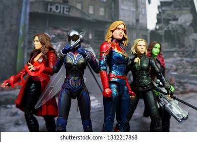 Bangkok, Thailand - March 7,2019: A setting of Captain Marvel, Black Widow, the Wasp, Scarlet Witch, and Gamora action figures from Marvel comic.