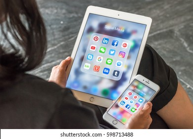 BANGKOK, THAILAND - March 8, 2017: Social media app icons on Ipad, Iphone 7 smart phone touchscreen mobile internet technology lifestyle in digital age.