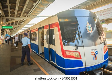 Bangkok, Thailand - March 8, 2017: Unidentified security guard on BTS skytrain train at Mochit BTS sky train station in Bangkok, Thailand.
