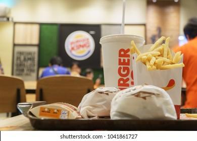 BANGKOK, THAILAND - MARCH 8,2018 : Two Hamburger with French Fries at Burger King. Burger King is an American global chain of hamburger fast food restaurants.