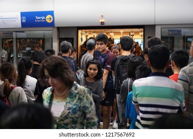 Bangkok Thailand - March 9, 2018: The crowded passengers entering MRT subway train arrived and people line up for waiting to enter inside in rush hour, Transportation of the Bangkok Mass Rapid Transit