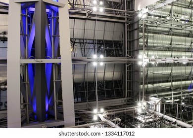 Bangkok, Thailand - March 9th, 2019: Abstract night view of the interior architecture of the terminal building of Suvarnabhumi Airport, designed by Helmut Jahn of Murphy Jahn Architects,Bangkok.