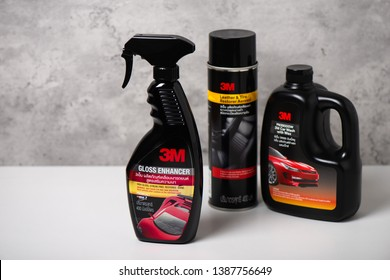 BANGKOK, THAILAND - MAY 04, 2019: Collection of car care products from 3M in Thailand. 3M is an American multinational conglomerate corporation.