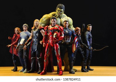 BANGKOK THAILAND - MAY 04,2019 :  Including MARVEL Super Heroes models ,superheroes figure in action in home at Bangkok ,Thailand