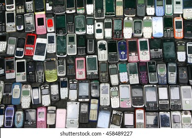 Bangkok, Thailand - May 05, 2012: Second hand Vintage Feature Mobile Phone sale for spare part in Klong Thom market in Bangkok Thailand.