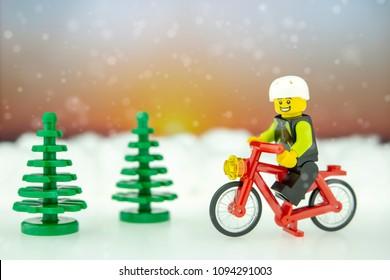 BANGKOK, THAILAND May 05, 2018 : Studio shot of LEGO that riding bicycles in park.