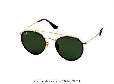 Bangkok, THAILAND - May 07, 2018: Closeup Details of Ray-Ban Round Double Bridge - RB3647N, isolated on white background.