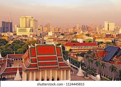 BANGKOK, THAILAND - May 08, 2018: Beautiful sunset view from the Golden Mount, Wat Saket temple, Bangkok with Bangkok city view in the background