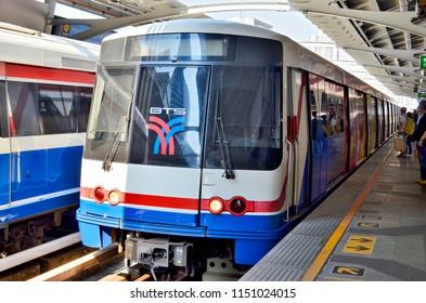 Bangkok, Thailand - May 1, 2017: The BTS Skytrain at Nana station.