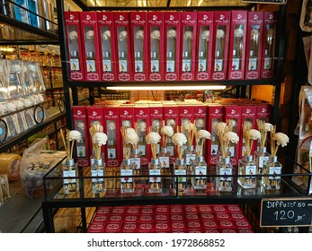 Bangkok, Thailand. May 1, 2021 - perfume diffuser product display in retail store in Chatuchak weekend market.