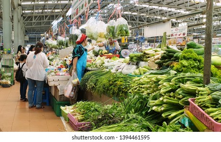 BANGKOK, THAILAND - MAY 1: Local fresh market in Bangkok, Thailand on May 1, 2019. Or There are variety of vegetables in market stall.