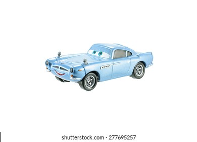 Bangkok, Thailand - May 10, 2015: Finn McMissile British spy toy car a protagonist of the Disney Pixar feature film Cars. A diecast cars collection from Mattel inc.