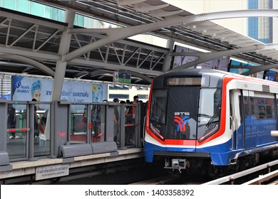 Bangkok, Thailand - May 10 2019: The Bangkok Mass Transit System, commonly known as the BTS or the Skytrain, is an elevated rapid transit system in Bangkok, Thailand. It's fast and more convenient.
