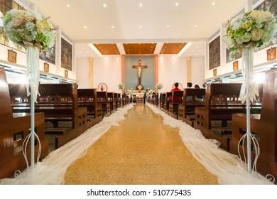 BANGKOK, THAILAND - May 10: There is wedding in Don Bosco church May 10, 2015 at Bangkok, Thailand.