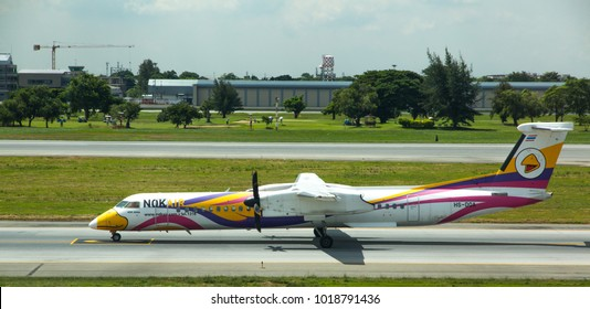 BANGKOK, THAILAND, MAY 11, 2017: Nok Air atr72 before take off, Don Muang airport, Bangkok, Thailand