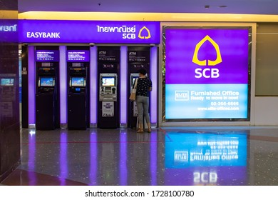 Bangkok Thailand - May 11, 2020 : An ATM CDM electronics update for SCB bank customers at the front of their office branch.