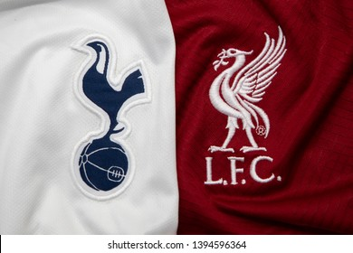 BANGKOK, THAILAND - MAY 11: The Logo of Tottenham Hotspur and  Liverpool on Football Jerseys on May 11,2019. They will Face Each other on UEFA Champions League 2019 Final in Madrid