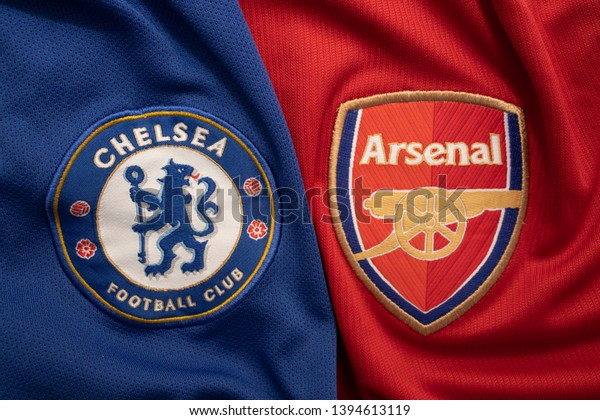 BANGKOK, THAILAND - MAY 11: The Logo of  Chelsea and  Arsenal on Football Jerseys on May 11,2019. They will Face Each other on UEFA Europa League 2019 in Baku