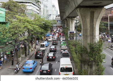 BANGKOK, THAILAND, MAY 11,2017, Traffic jam at the junction in Bangkok, Thailand. It is the capital of Thailand.
