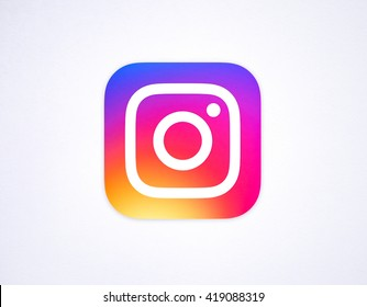 BANGKOK, THAILAND - May 12, 2016 - New Instagram logo 2016 camera icon symbolic with colorful new design, Printed on white paper. Instagram is a popular social networking for sharing photos and videos