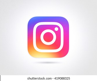 BANGKOK, THAILAND - May 12, 2016- New Instagram logo 2016 camera icon symbolic with colorful new design, Printed on white paper. Instagram is a popular social networking for sharing photos and videos.