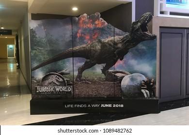 Bangkok, Thailand - May 12, 2018: Standee of The Sci-Fi Dinosaur Movie Jurassic World 2: Fallen Kingdom displays at the theater