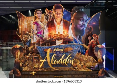 Bangkok, Thailand - May 12, 2019 : A photo of Aladdin's movie 3D standee in front of cinema to promote the movie. This movie will be in theatre in 22 May 2019.