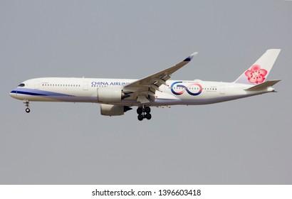 Bangkok Thailand / May  12 2019 / China airlines Airbus A350-900 landing at Suvanabhumi airport VTBS.