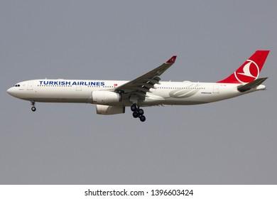 Bangkok Thailand / May 12 2019 / Turkish airlines Airbus A330-300 landing at Suvanabhumi airport VTBS.
