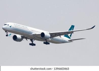 Bangkok Thailand / May  12 2019 / Cathay Pacific Airbus A350-1000 landing at Suvanabhumi airport VTBS.